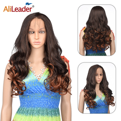 Alileader Hot Selling Lace Wig Dark Brown Long Wave Lace Front Wig Synthetic Lace Wigs More Durable Wave Hairpiece Daily Wear