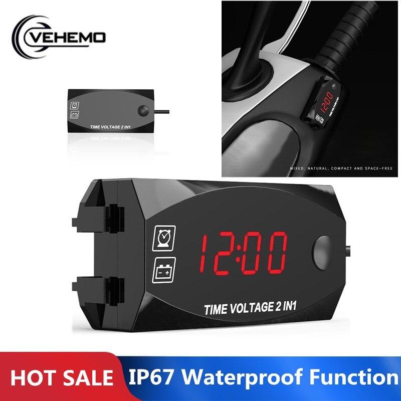 VEHEMO 6V-30V Electric Motorcycle WWaterproof Two-in-one Multi-function Digital Display Clock Voltmeter Red Light