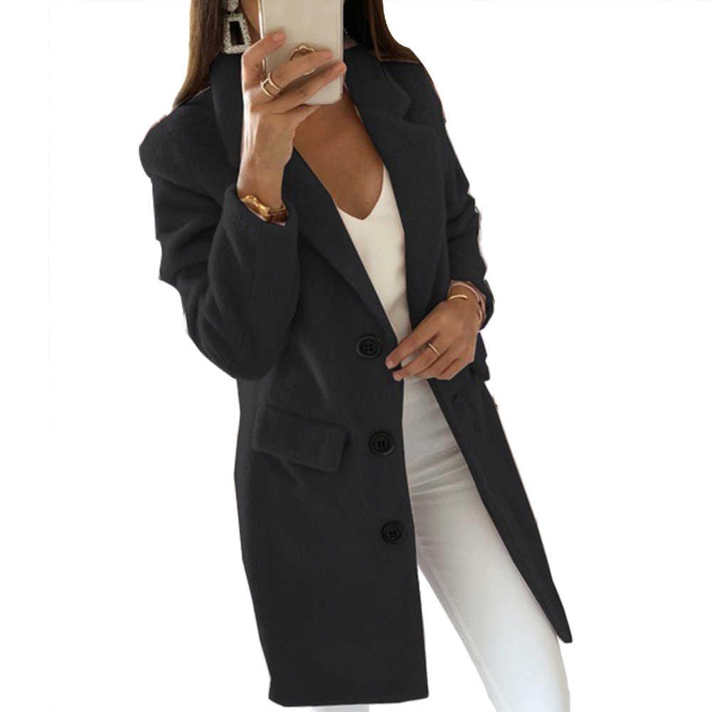 3-5XL Herfst Winter Lange Mouw Vest Effen Kleur Vrouwen Revers Blazer Jas jas vrouwen Kleding hoge kwaliteit Jas Mode 2