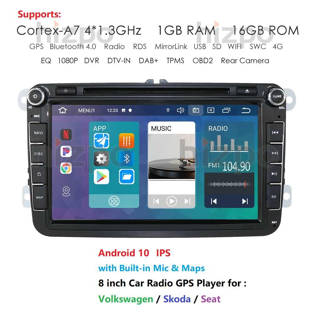 2 Din Android 10 8 cal odtwarzacz samochodowy Radio dla Volkswagen Golf Plus Passat Touran Sharan siedzenie do skody GPS DVD Stereo Audio multimedialnym