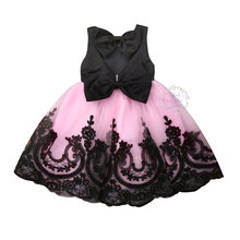 1-6Years Toddler Baby Kid Girls Princess Dress Black Bow Lace Tulle Tutu Party Wedding Birthday Dresses For Costumes