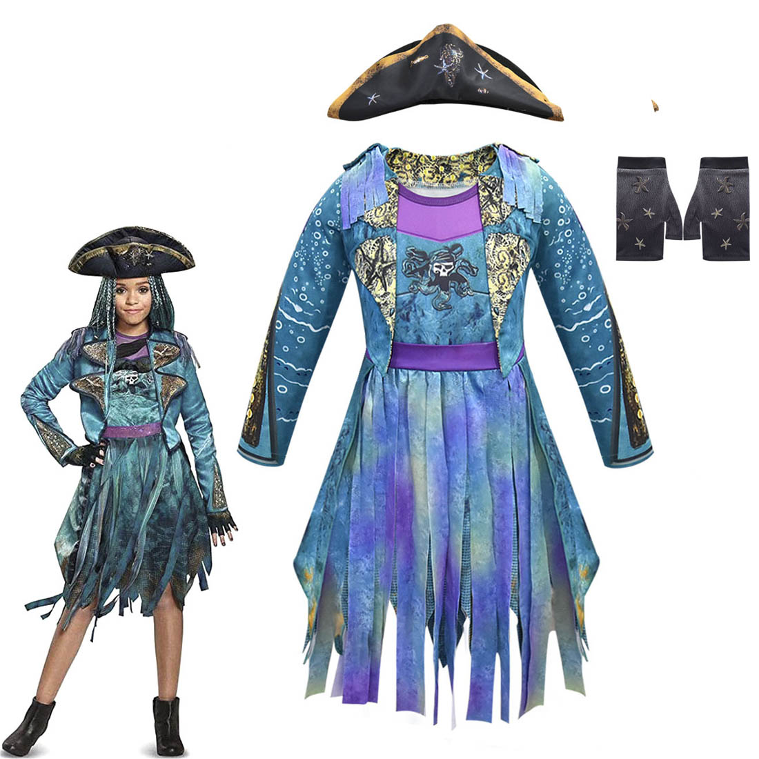 Halloween Costume For Kids Descendants 3 Audrey Evie Cosplay Costumes Girls Funny Party Carnival Clothing Fantasia Jumpsuits