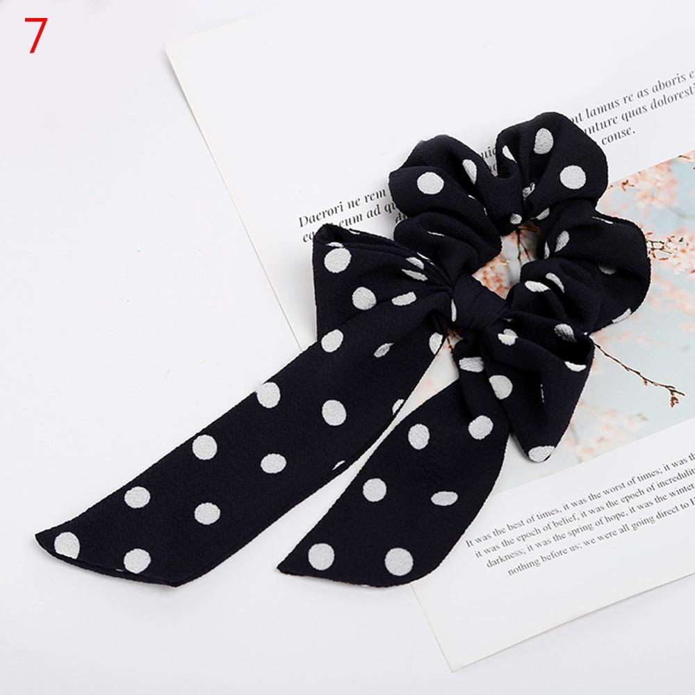 Femmes banderoles chouchous à pois imprimé Floral élastique noeud cheveux corde fille cheveux cravates coréen doux cheveux accessoires chapeaux 60