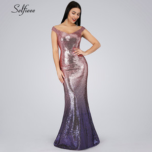 Image 5 - New Gold Sequin Dress Long Elegant Off The Shoulder V Neck Sequined Women Party Dress Sexy Club Dress Vestido Largo De Fiesta