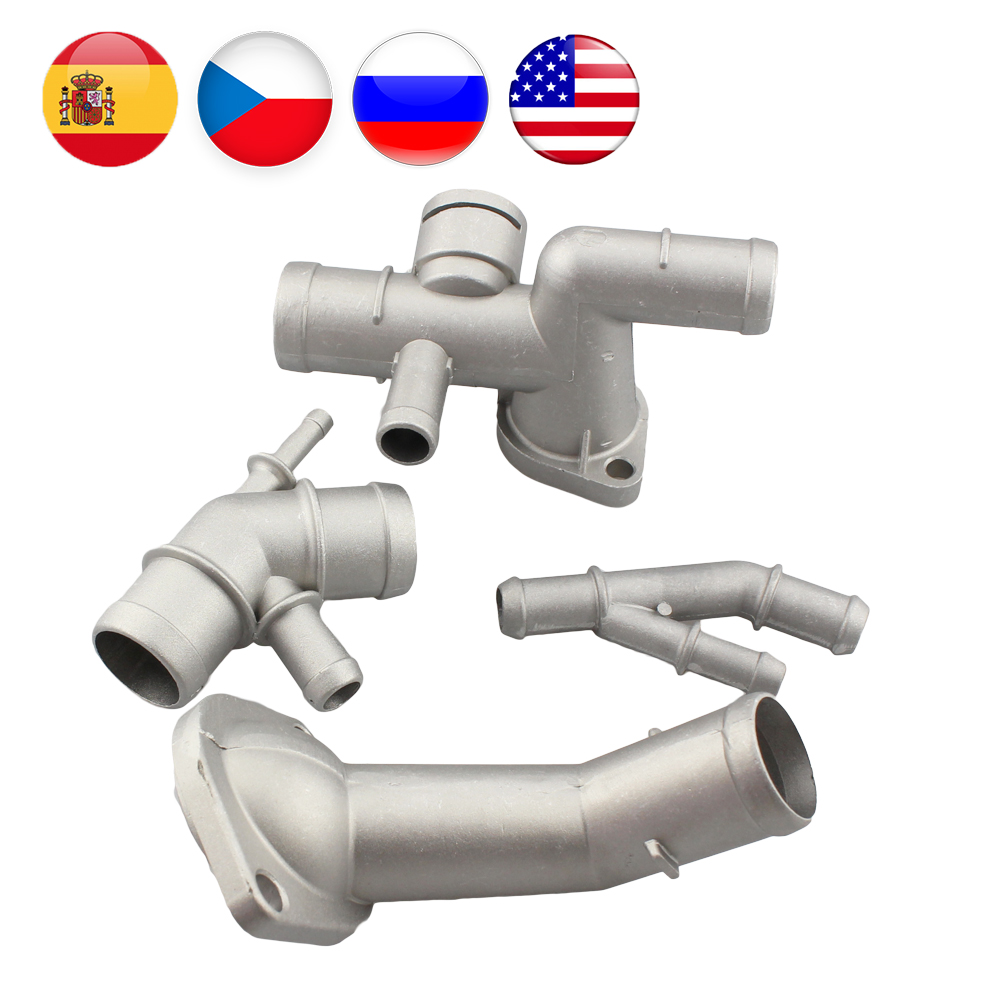 4PCS Aluminium alloy 1.8T Engine Cooling Coolant Hose Connector Supercharger Pipe For Jetta Golf MK4 Bettle A3 S3 TT Seat Ibiza