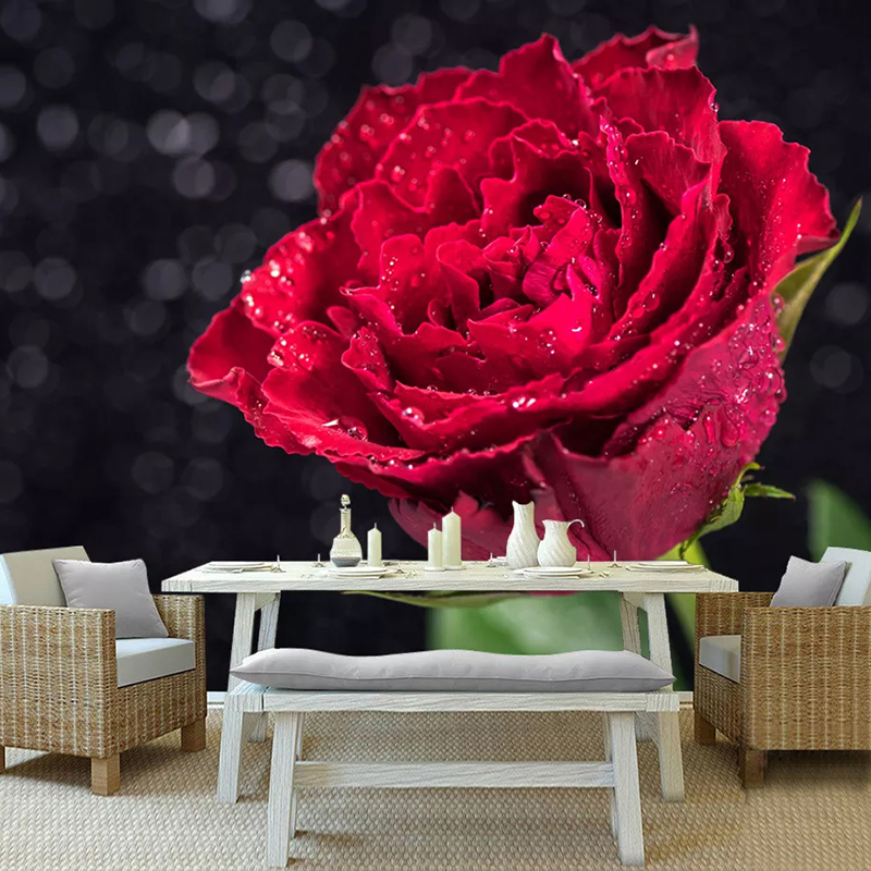 Custom 3D Photo Wallpaper Romantic Red Rose Flower Mural Living Room Bedroom Background Wall Decoration Wall Papers Home Decor