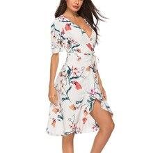 2019 New Fashion Summer Dress Sexy Slim V-neck Ruffled High Waist Flower Print Short-sleeved Womens