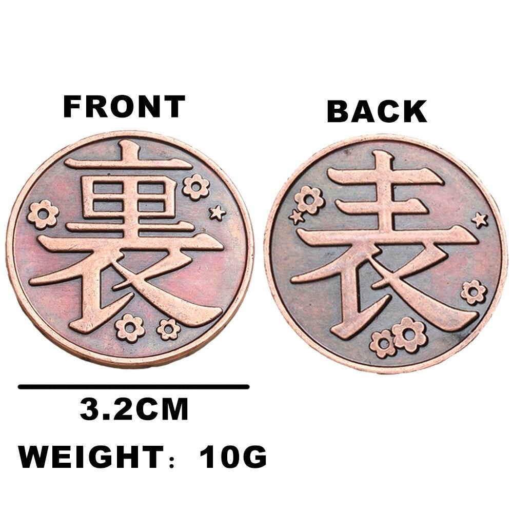 H98b09c5e20174ee6b6360f66e07d83c2M Moeda Anime demon slayer moeda cosplay kimetsu no yaiba tsuyuri kanawo kochou shinobu coletar liga de metal moedas tokens coleção adereços