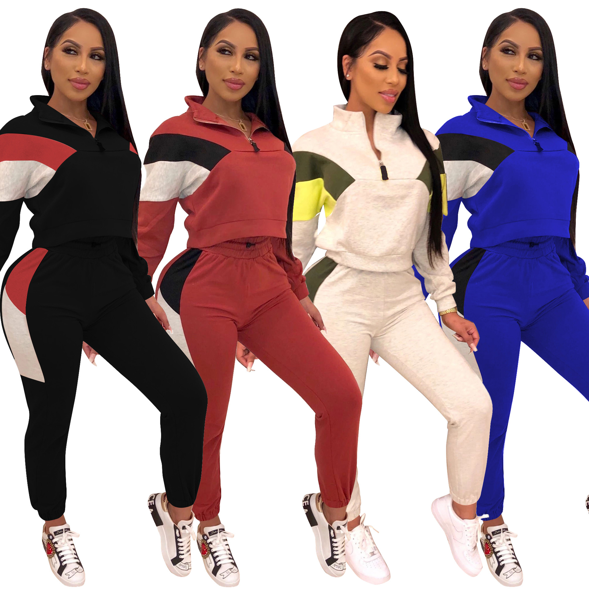 Casual Jacket Pencil Pants 2019 European And American Fashion Stitching Stand Collar Sports Suit