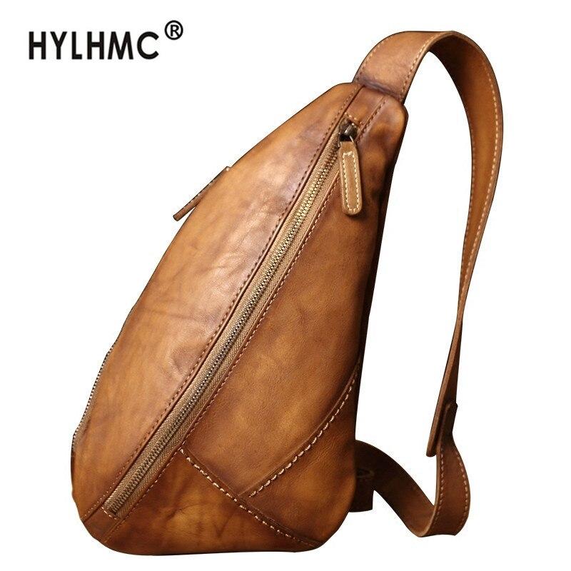 Vintage Leather men's bag leather chest bag casual messenger bag retro shoulder bag fashion tide brand 2020 new small bag men