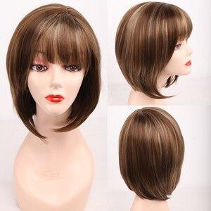 Image 3 - Aimr自然かつらストレート人工毛かつらコスプレショート耐熱ボブブロンド茶色混合色オンブルpelucasかつら