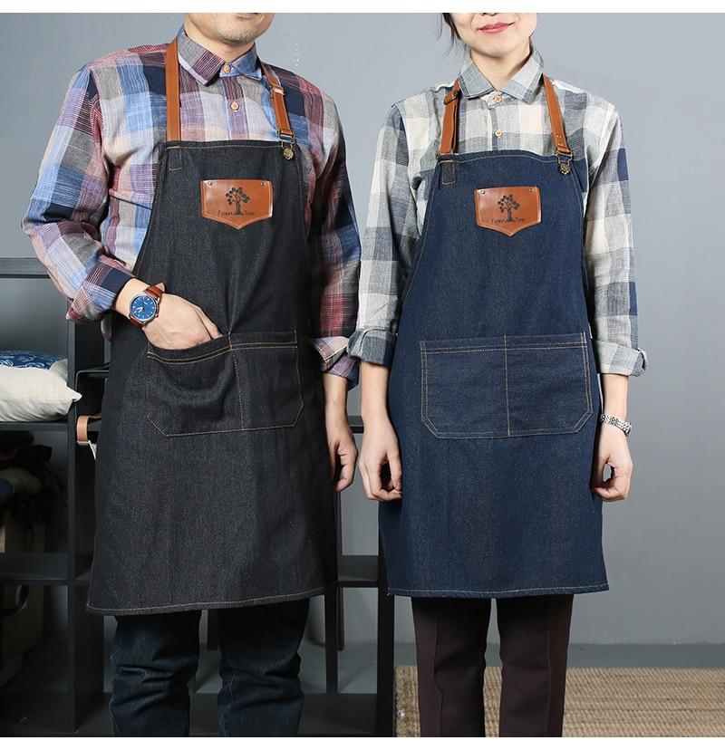 nouveau mode coton tissu denim jeans tablier tabliers de cuisine pour femme homme tablier chef coiffeur barman travail uniforme