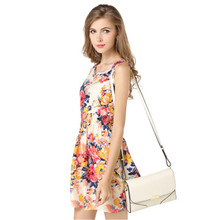 2019 European and American summer casual large size vest dress print mini dress sleeveless floral chiffon dress tide butterfly and floral print sleeveless mini dress