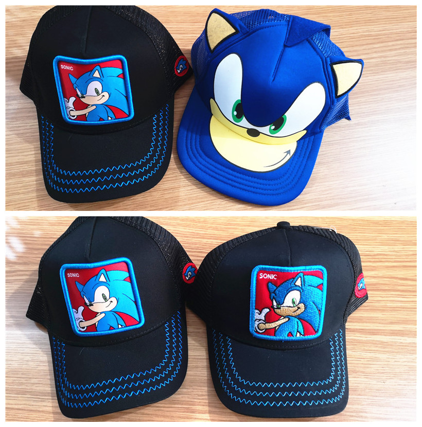 New 3D Blue Boy Sonic The Hedgehog Embroidery Cartoon Youth Adjustable Baseball Hat Cap Blue For Boys Hot Selling Party Gifts