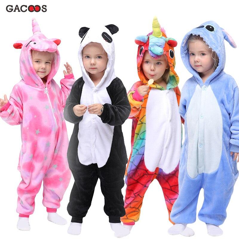 Kigurumi Children's Pajamas Boys Girls Unicorn Pajamas Kids Stitch Pijamas Panda Animal Sleepwear Winter Onesies Panda Pajamas