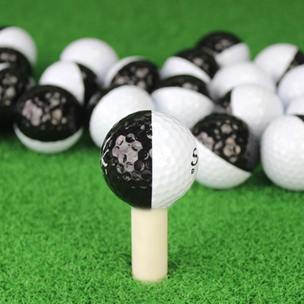 Golf Balls Set Long Distance Black And White 2 Layer Ball Golf Training Accessories For Putters High Rebound Resin
