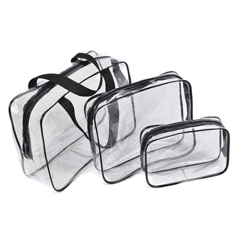 3PCS PVC Travel Transparent Cases Clothes Toiletries Storage Bag Box Luggage Towel Suitcase Pouch Zip Bra Cosmetics  Organizer