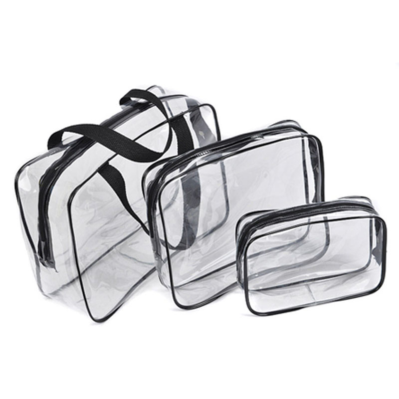3PCS PVC Travel <font><b>Transparent</b></font> Cases Clothes Toiletries Storage <font><b>Bag</b></font> Box Luggage Towel Suitcase Pouch Zip Bra <font><b>Cosmetics</b></font> Organizer image