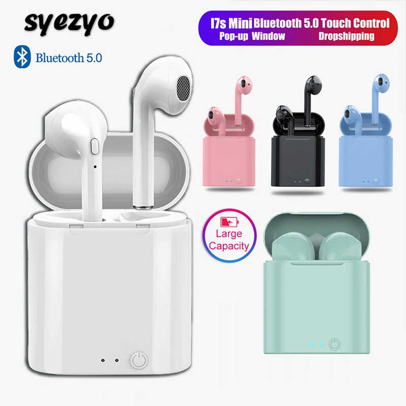 I7s TWS Bluetooth Earphone Mini Olahraga Headset Tahan Air Earbud Musik Earphone Untuk Huawei Iphone Xiaomi Wireless Headphone