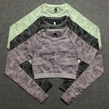 camo seamless long sleeve crop top women sport tops for gym thick material compression shirt workout tshirt
