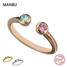 MANBU Personalized 925 sterling silver fashion double birthstone rings custom engraved letter ring for women valentine's gifts manbu custom infinity knot ring with moonstone 925 sterling silver ring for women fashion jewelry anniversary gift free shipping