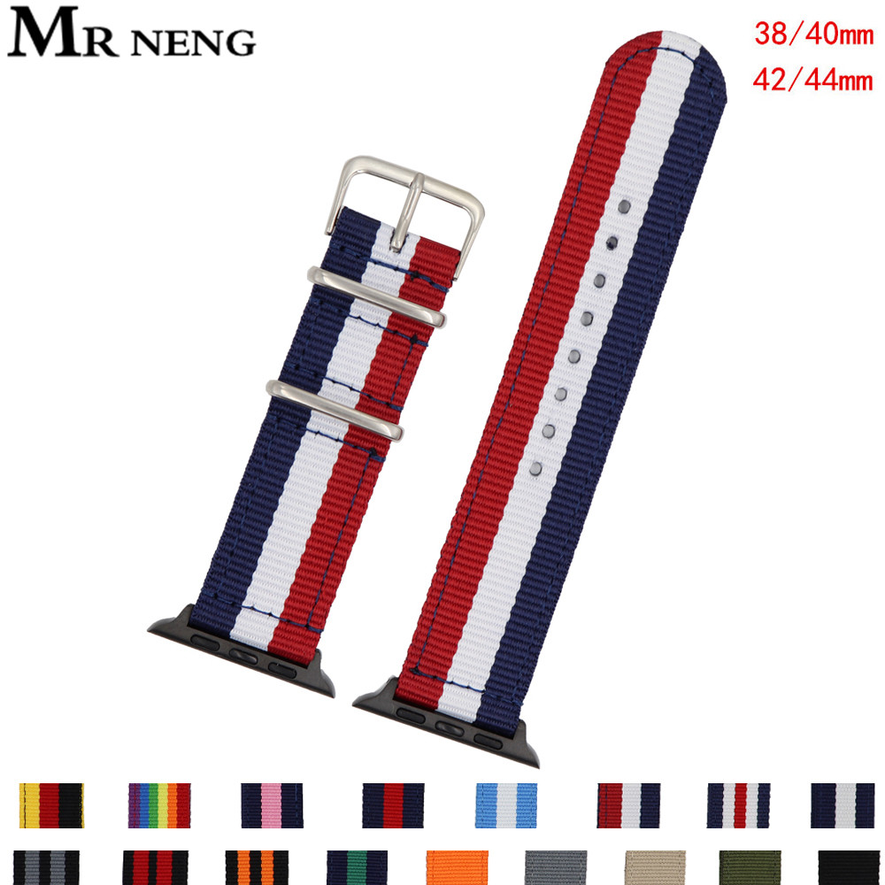 Nato Nylon Watch Band For Apple Watch 38mm 40mm Watchband For IWatch 5 4 3 2 1 Watch Strap 42mm 44mm Wrist Bracelet