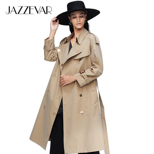 JAZZEVAR 2019 New arrival autumn trench coat women loose clothing outerwear high quality double breasted women long coat 9024 1