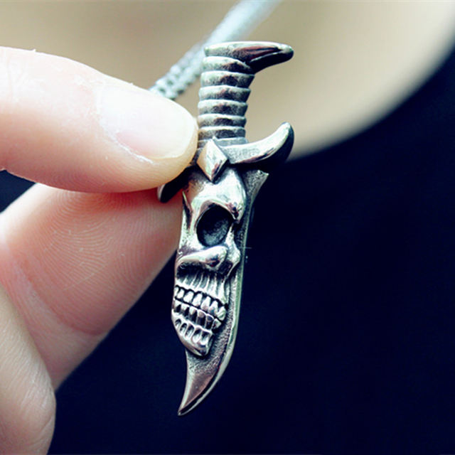 STAINLESS STEEL DOUBLE SIDED SKULL DAGGER NECKLACE