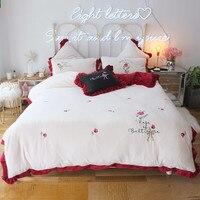 Modern Style New Milk Velvet 4pcs Duvet Cover Bed Sheet Pillowcases Rose Pink White Christmas Eve Warm Winter Spring Bed Set