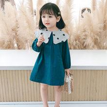 Осенняя детская одежда для девочек Рубашка в горошек с кукольным