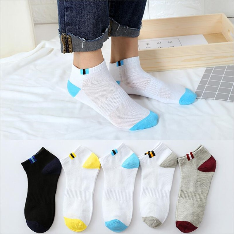New 5 Pairs/Lot Men Mixed Color Cotton Socks Free Size Casual No Show Ankle Socks Male Summer Autumn Breathable Socks Men Gift