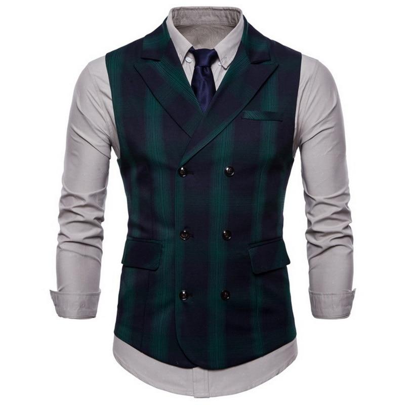 Spring And Autumn Men's Suit Double-breasted Plaid Vest British Wind Double Pocket Lapel Large Size Men's Vest