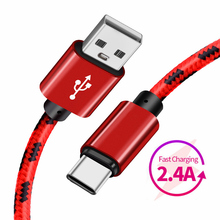 USB Type C Cable 2.4A Fast Charging Type-C Nylon USB Cable For Samsung S9 S8 Note 9 8 Huawei Xiaomi Redmi Note 7 USB C Data Cord цена и фото