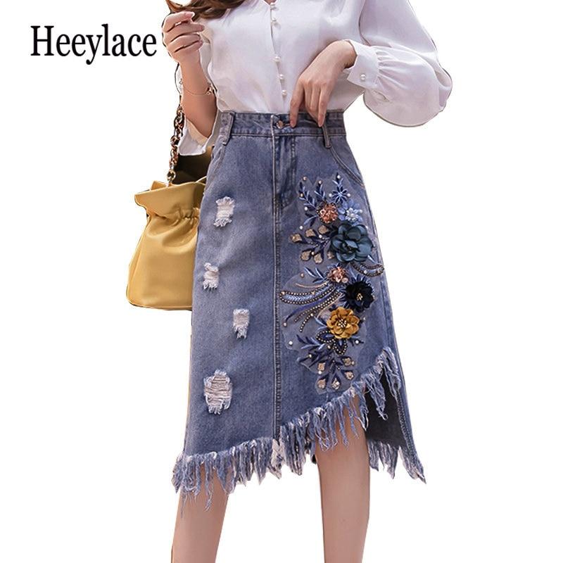 3D Embroidered Plus Size  Denim Skirt Women Fashion Hole Beaded Irregular Tassel Skirt Appliques Flower Package Hip Jeans Skirt