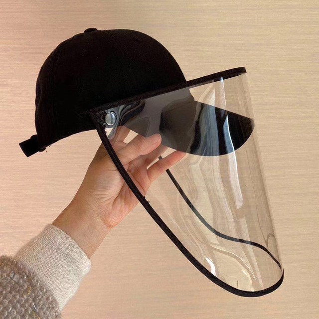 Unisex Baseball Hat with Removable Clear Full Face Shield Anti Saliva Outdoor Riding Anti-Dust Protective Mask Hat for Men Women 3