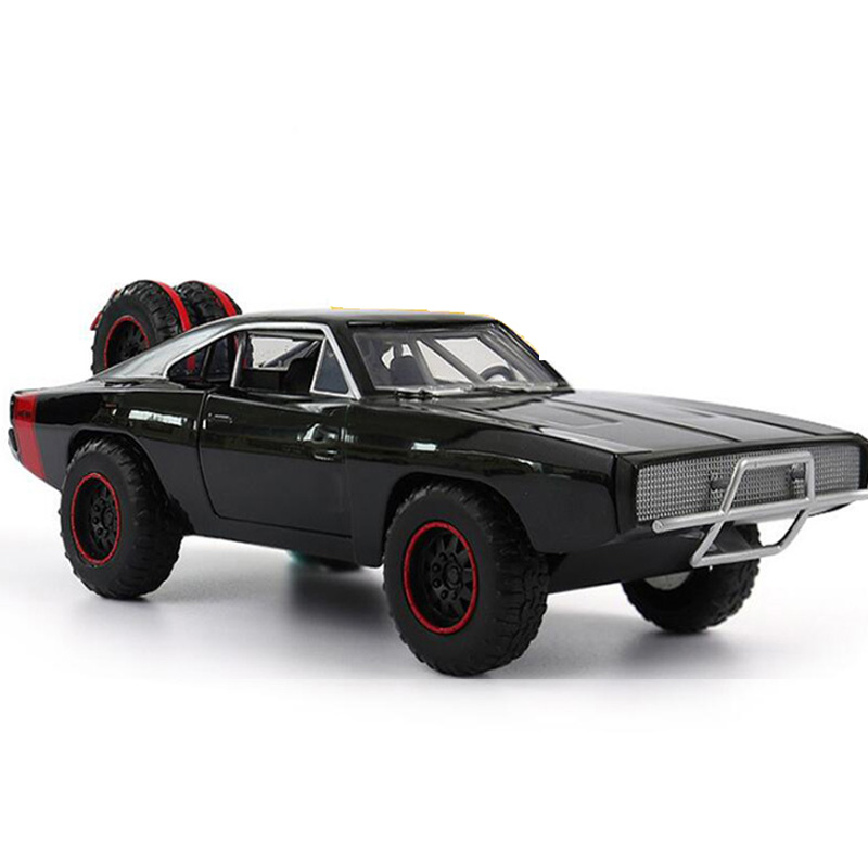 22.5CM 1:24 Scale Black Metal Alloy 1970 Dodge Charger Faster & Furious Car Pull Back Model Diecast Vehicle Toy for Kdi Decorate