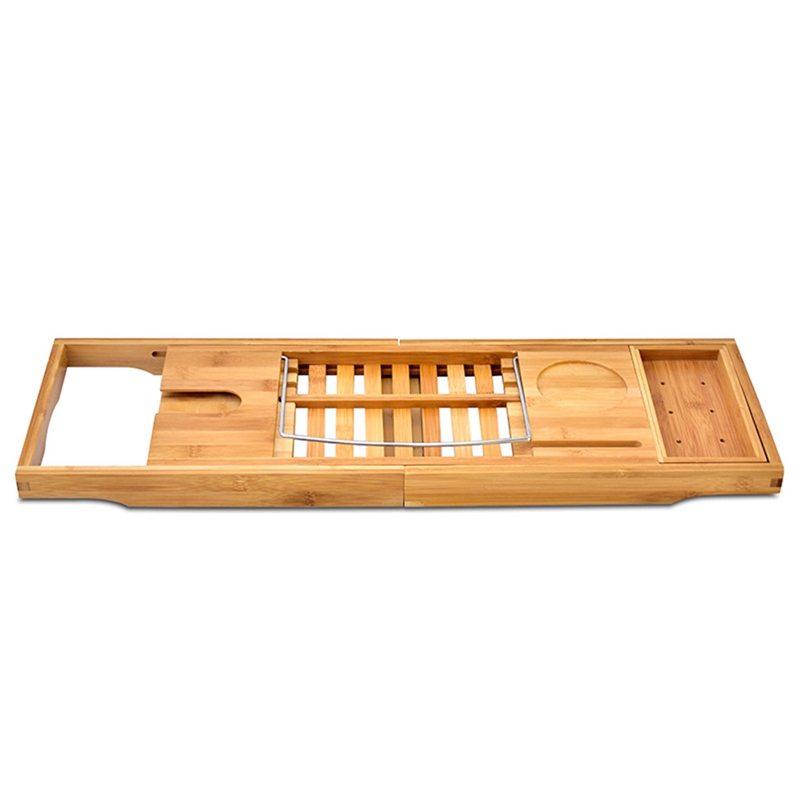 Promotion! Bamboo Bathtub Retractable Tray With Extended Side Reading Frame Tablet Holder Mobile Phone Tray And Wine Rack Holder