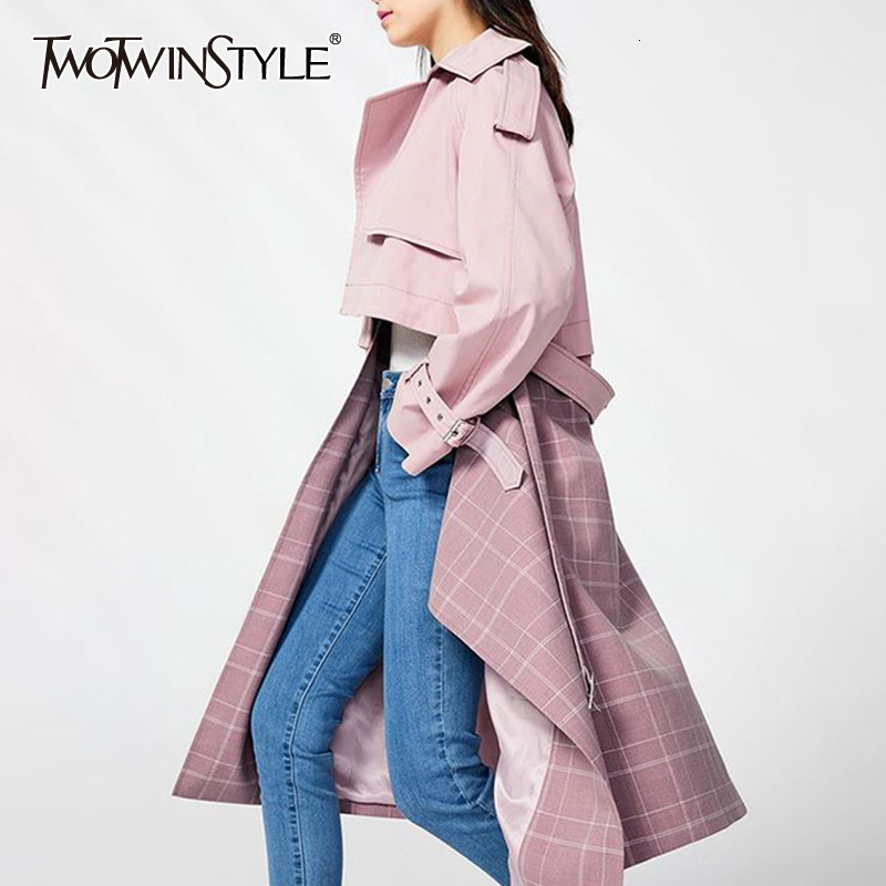 TWOTWINSTYLE Patchwork Plaid Women's Windbreaker Lapel Collar Long Sleeve High Waist Lace Up Female Trench Coats 2019 Autumn New