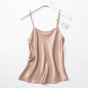 Image 1 - Camisola 100% tirantes finos de seda para mujer, camiseta sin mangas, talla M L JN003