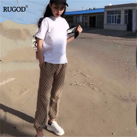 RUGOD 2019 New Autumn Women Fashion Print Pants High Elastic Waist Straight Slim Trousers Temperament Streetwear Casual Pants