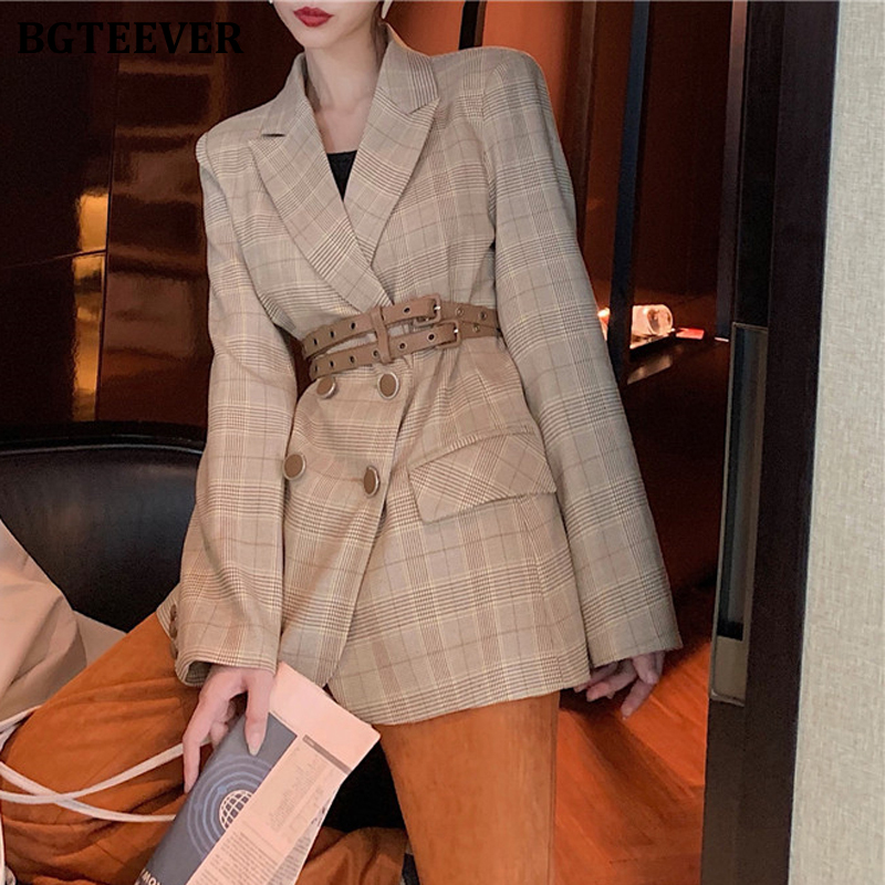 BGTEEVER Fashion Plaid Women Blazer Notched Collar Double-breasted Female Suit Jacket Autumn Winter Casual Blazer Outerwear 2019