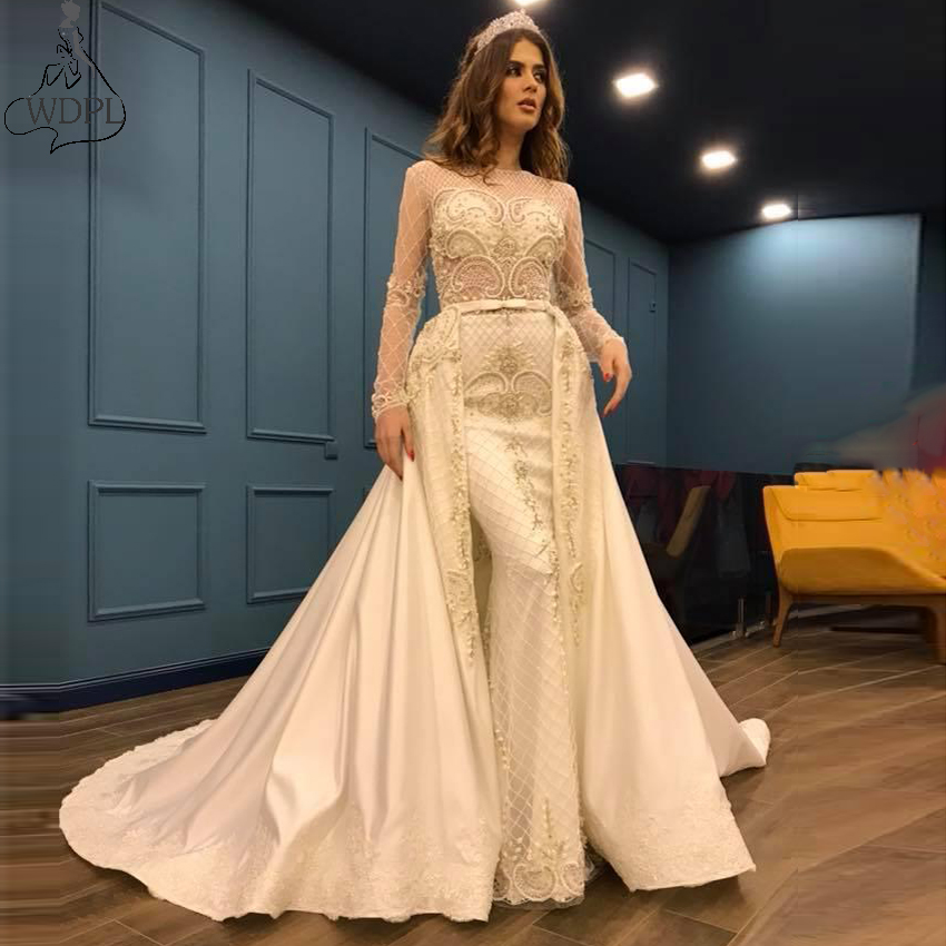 Sheer Long Sleeves Beaded Mermaid   Prom     Dresses   With Detachable Train 2020 Custom Arabic Women Evening Party Gowns Formal   Dress