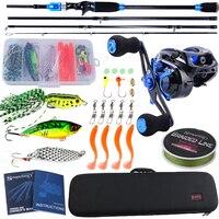 Sougayilang Baitcsting Rod Combo 4 Section M Power Carbon Fiber Rod and Casting Reel Set 100M Fishing Line Lures Hooks Full Kit