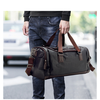 High Quality Travel Bag Black PU Leather Hiking Bags Hand Luggage For Men Travel Duffle Bag New Outdoor Large Capacity Bags & Shoes