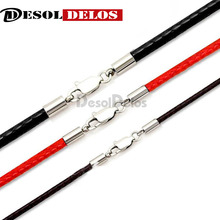 1.5mm 2mm 3mm Leather Waxed Cord Necklace Stainless Steel Lobster Clasp Connector Round Rope Chain For DIY Jewelry 3pcs