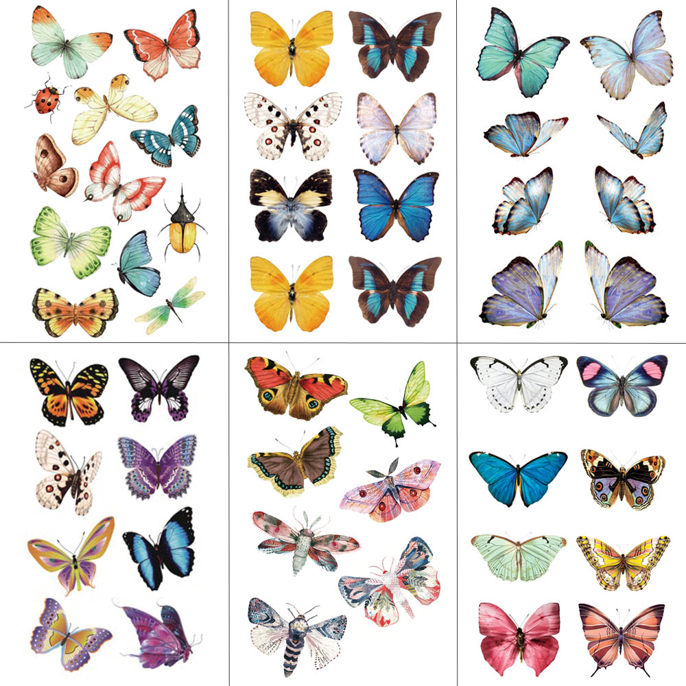 WYUEN Watercolor Butterfly Temporary Tattoo Sticker Waterproof Women Fake Tattoos Men Children Body Art Hot Design 9.8X6cm A-001