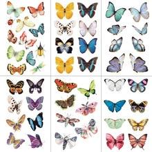 WYUEN Watercolor Butterfly Temporary Tattoo Sticker Waterproof Women Fake Tattoos Men Children Body Art Hot Design 9.8X6cm A-001