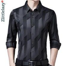 2020 nova marca de manga longa masculina camisa social streetwear casual listrado camisas vestido dos homens magro regular ajuste roupas fashions 1302