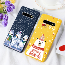 Winter Nieuwe Kerst Matte Cases Voor Samsung Galaxy S6 S7 Rand S8 S9 S10 Plus S10e Note 5 8 9 j5 J7 Prime J4 J6 Plus 2018 Fundas(China)