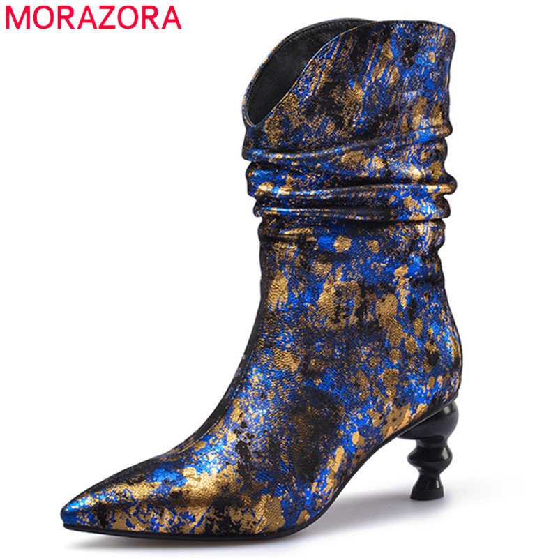 MORAZORA 2020 hot genuine leather party wedding shoes women ankle boots pointed toe high heels autumn winter boots female